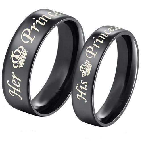 COI Black Tungsten Carbide Her Prince His Princess Crown Dome Court Ring-5437