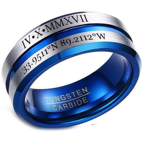 COI Tungsten Carbide Blue Silver Center Groove Ring With Custom Roman Numerals-5454