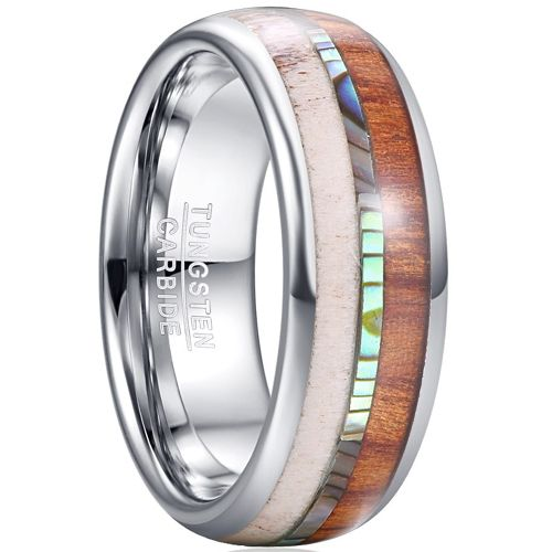 COI Tungsten Carbide Deer Antler Wood Abalone Shell Dome Court Ring-5461