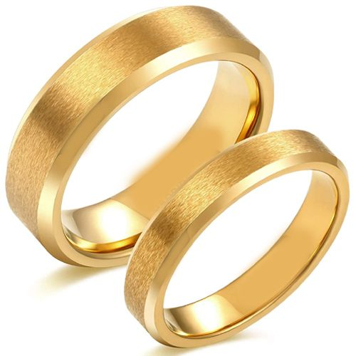 COI Gold Tone Tungsten Carbide Sandblasted Beveled Edges Ring-5618