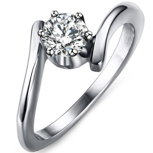 COI Titanium Solitaire Ring With Cubic Zirconia-5629