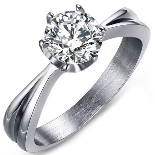 COI Titanium Solitaire Ring With Cubic Zirconia-5636