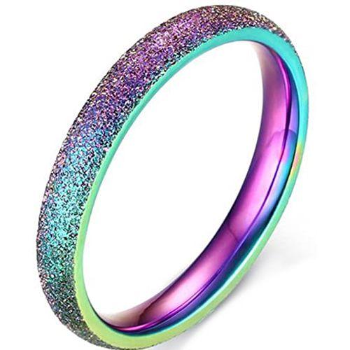 COI Tungsten Carbide Rainbow Pride Sandblasted Dome Court Ring-5666