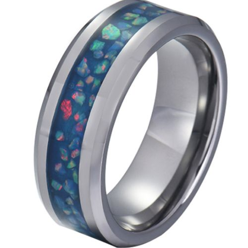 COI Tungsten Carbide Crushed Opal Beveled Edges Ring-TG5790
