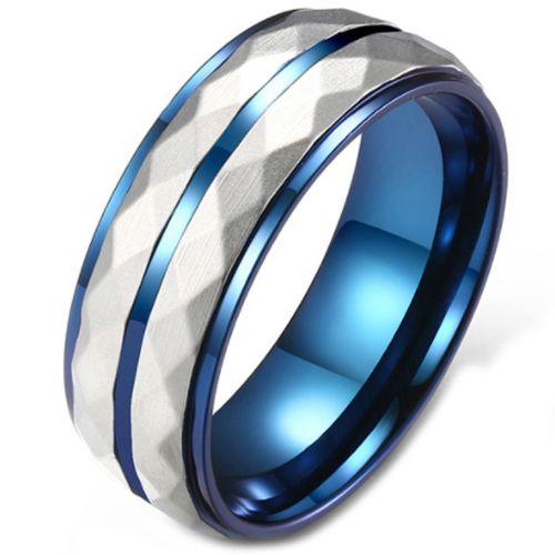COI Titanium Blue Silver Faceted Step Edges Ring-5812