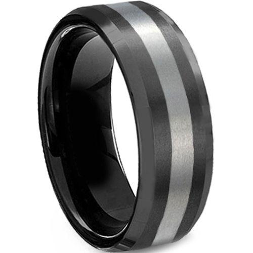 COI Titanium Black Silver Center Line Ring-624