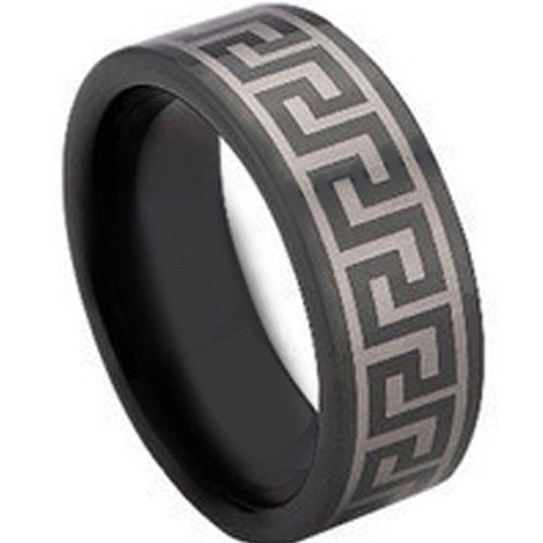 COI Black Tungsten Carbide Greek Key Pipe Cut Ring-TG673