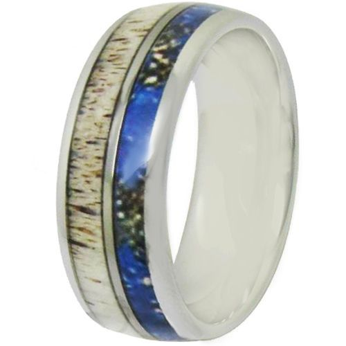 COI Tungsten Carbide Deer Antler & Blue Wood Dome Ring-TG4704