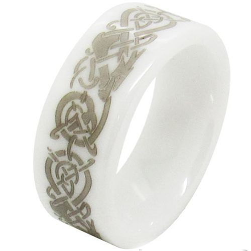 COI White Ceramic Dragon Pipe Cut Flat Ring-TG1496AA
