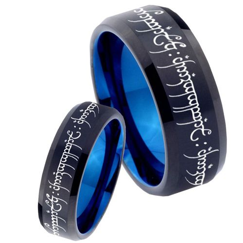 COI Tungsten Carbide Black Blue Lord of The Ring Ring-TG1711