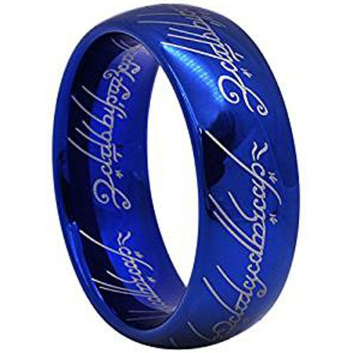 COI Blue Tungsten Carbide Lord of The Ring Dome Court Ring-TG2469