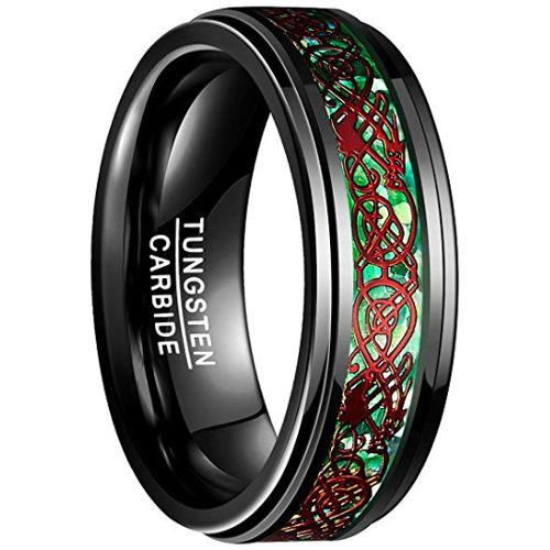 COI Black Tungsten Carbide Red Dragon Step Edges Ring-TG3241BB
