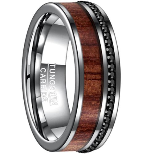 COI Tungsten Carbide Wood & Cubic Zirconia Ring-TG3266BB