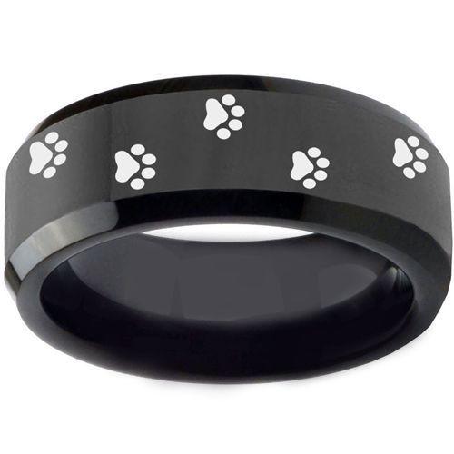 COI Black Tungsten Carbide Paws Print Beveled Edges Ring-TG3550B
