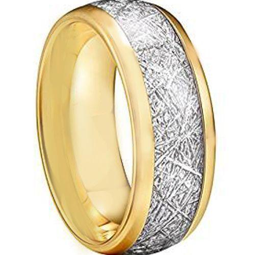 COI Gold Tone Tungsten Carbide Meteorite Dome Court Ring-TG2593A