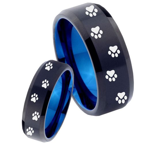 COI Tungsten Carbide Black Blue Paws Track Ring-TG4480