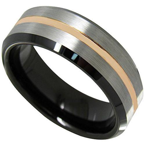 COI Tungsten Carbide Black Rose Beveled Edges Ring-TG4498
