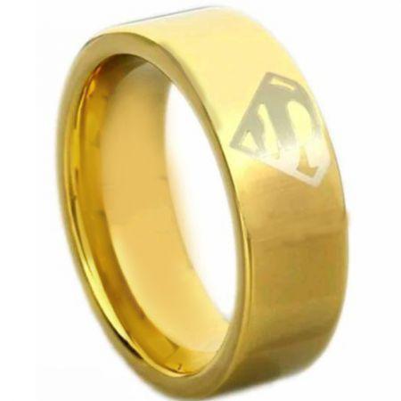 *COI Gold Tone Tungsten Carbide Superman Pipe Cut Ring-TG4612