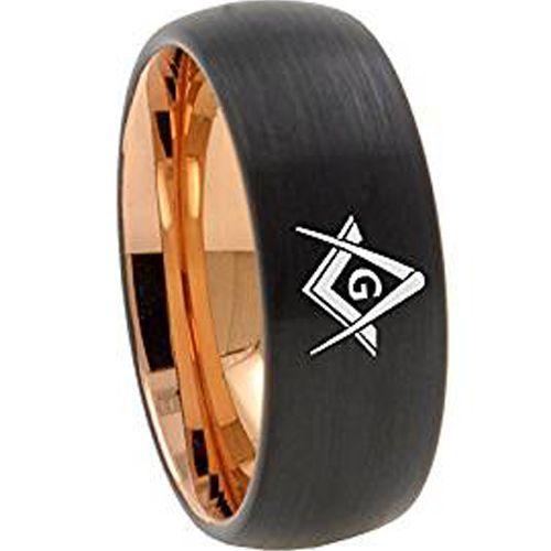 COI Tungsten Carbide Black Rose Masonic Dome Court Ring-TG4673