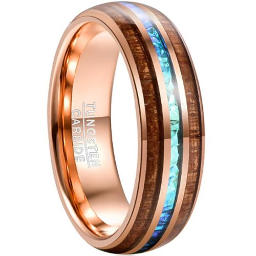 COI Rose Tungsten Carbide Crushed Opal & Wood Ring-TG4682