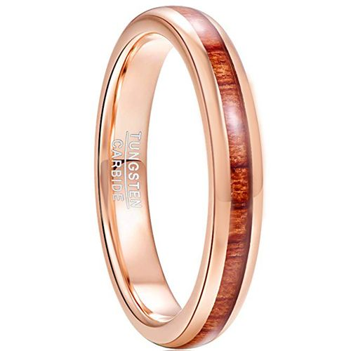 COI Rose Tungsten Carbide Wood Dome Court Ring-TG5027