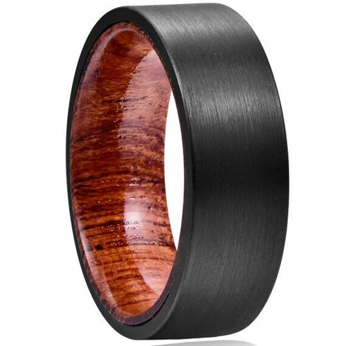 COI Black Tungsten Carbide Wood Pipe Cut Flat Ring-TG5041