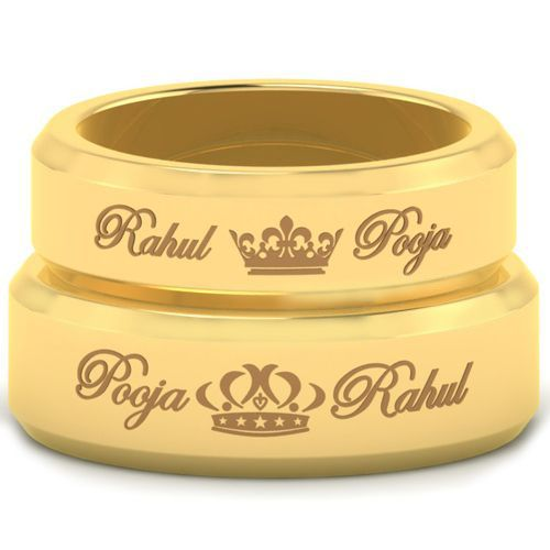 *COI Gold Tone Tungsten Carbide King Queen Crown Ring With Custom Name Engraving-5459