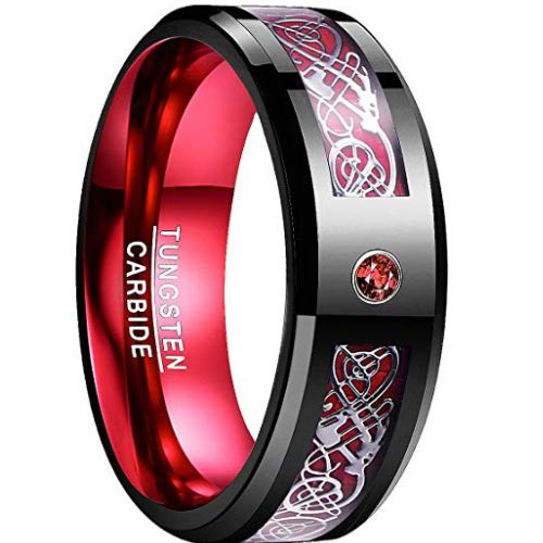 COI Tungsten Carbide Black Red Dragon Created Ruby Ring-TG783