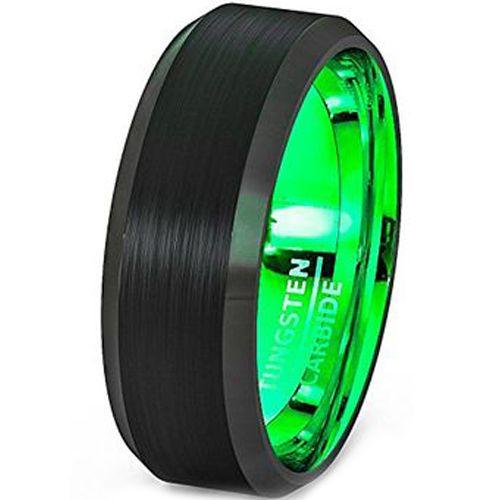 COI Tungsten Carbide Black Green Beveled Edges Ring-TG2566